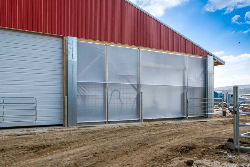 Center Roll Up Ag Curtains for Gable Ends of Dairy Barns